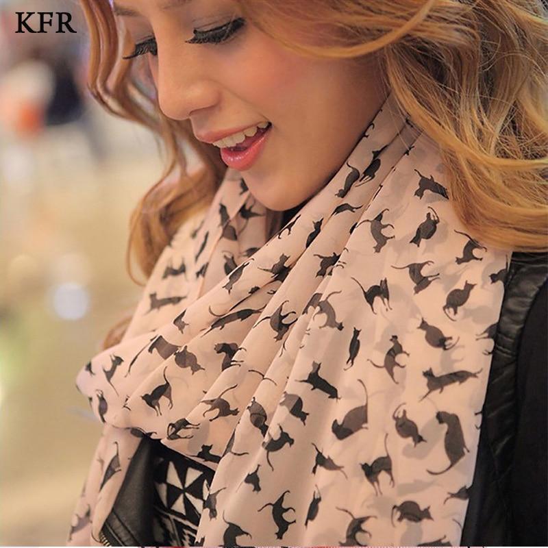 [해외]Fashion Cat Print Scarf Bandana shawl Women Chiffon Silk Scarf For Ladies Luxury Autumn Long Soft Scarves Female/Fashion Cat Print Scarf