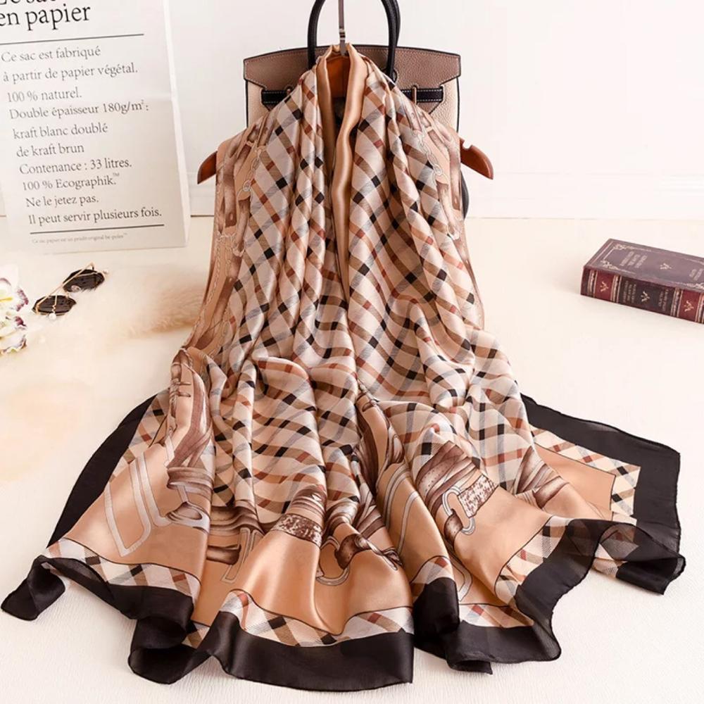 [해외]2019  luxury brand women scarf summer silk scarves shawls lady wraps soft pashimina female Echarpe Designer beach stole bandana/2019  lu