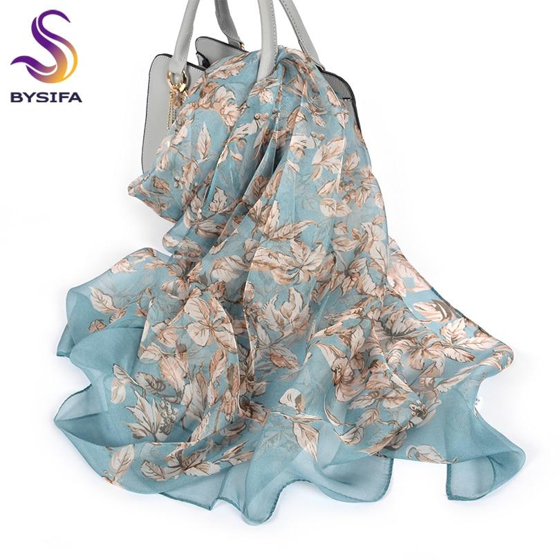 [해외][BYSIFA] 100% Silk Chiffon Scarf Female Brand Leaves Design Grey Khaki Long Scarves Beach Shawls Fall Winter Women Neck Scarves/[BYSIFA]