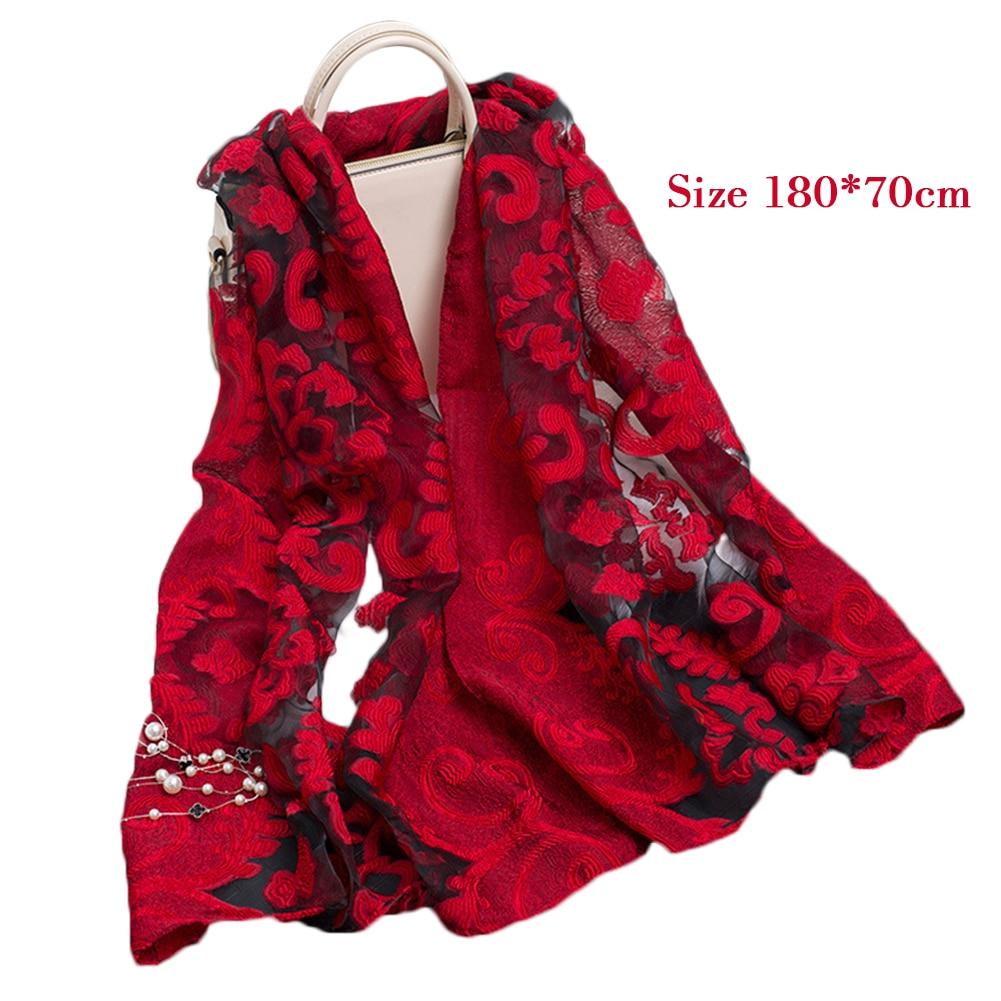 [해외]Elegant Lightweight Sheer Silk Organza Cut Flower Scarf For Women 2019 Fashion 180*70cm Long Embroidered Scarf Sunscreen Shawl/Elegant L