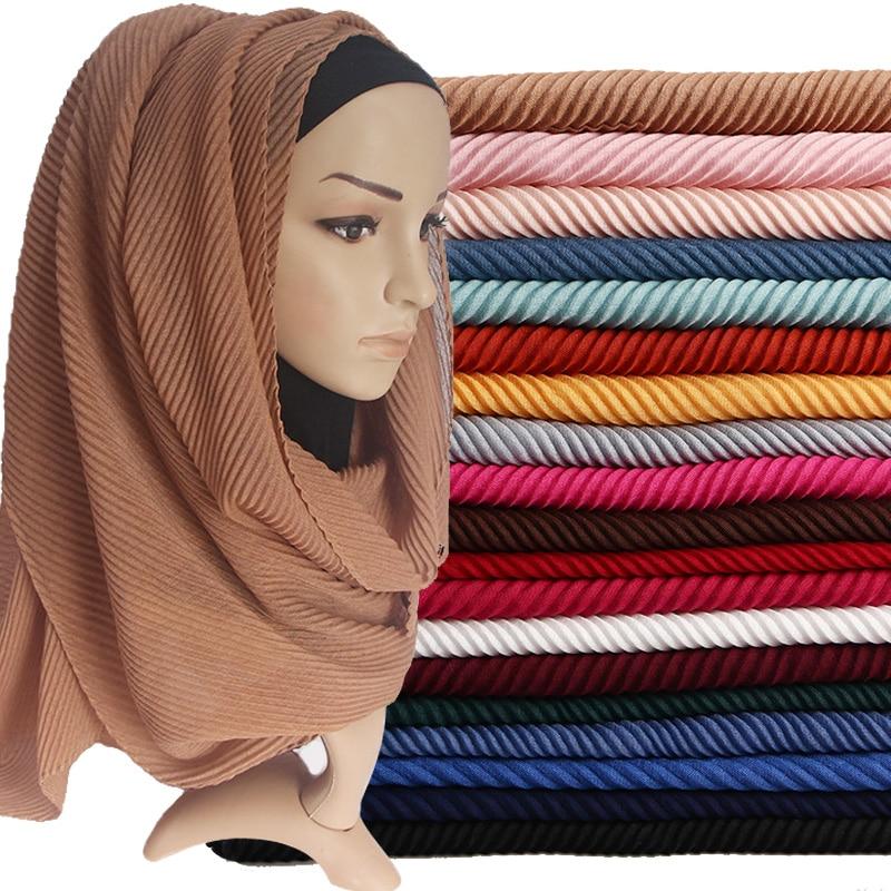 [해외]Women Pleated Cotton Hijabs Scarf Plain Wrinkle Crinkle Crimp Shawl Wraps Stole Muffler Muslim Hijab Headscarf  22Color 180x80cm/Women P