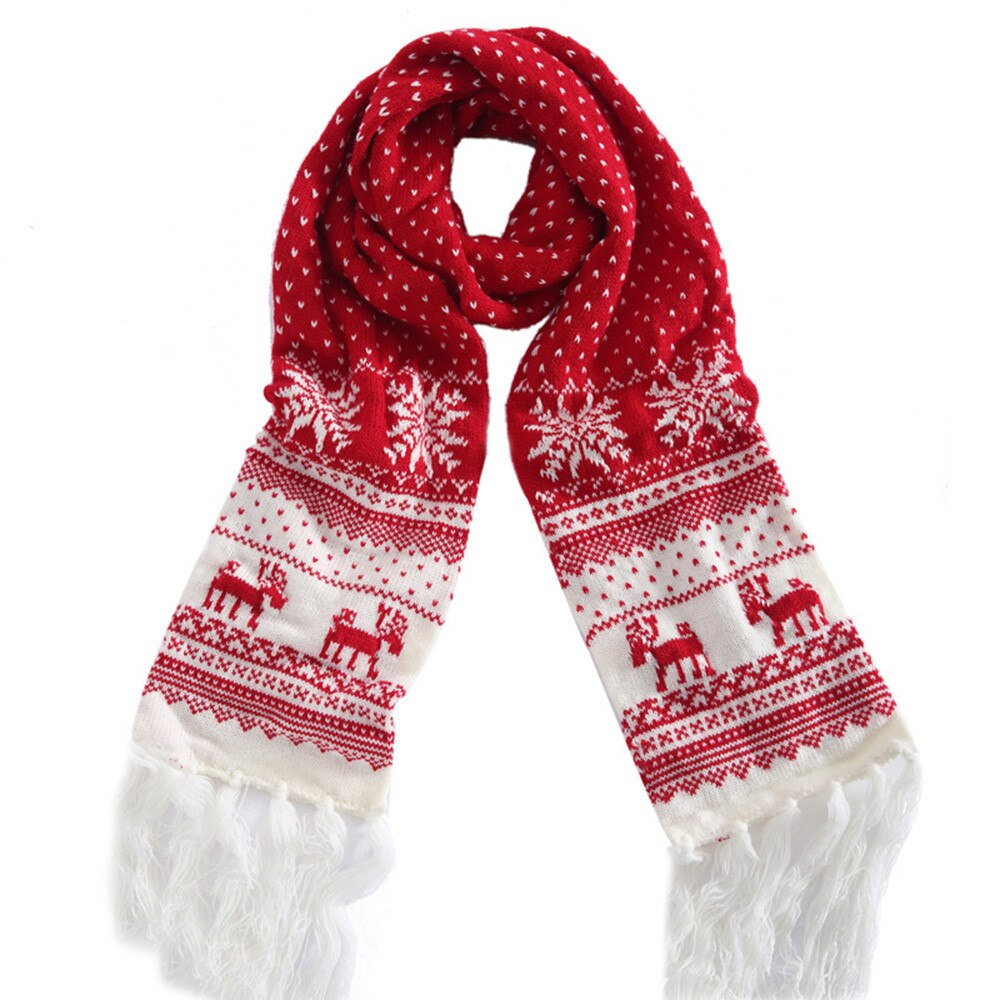 [해외]Scarf Women fashion Christmas Festive Winter Deer Print Warm Scarf Snow flake  scarf women 2019 FB/Scarf Women fashion Christmas Festive
