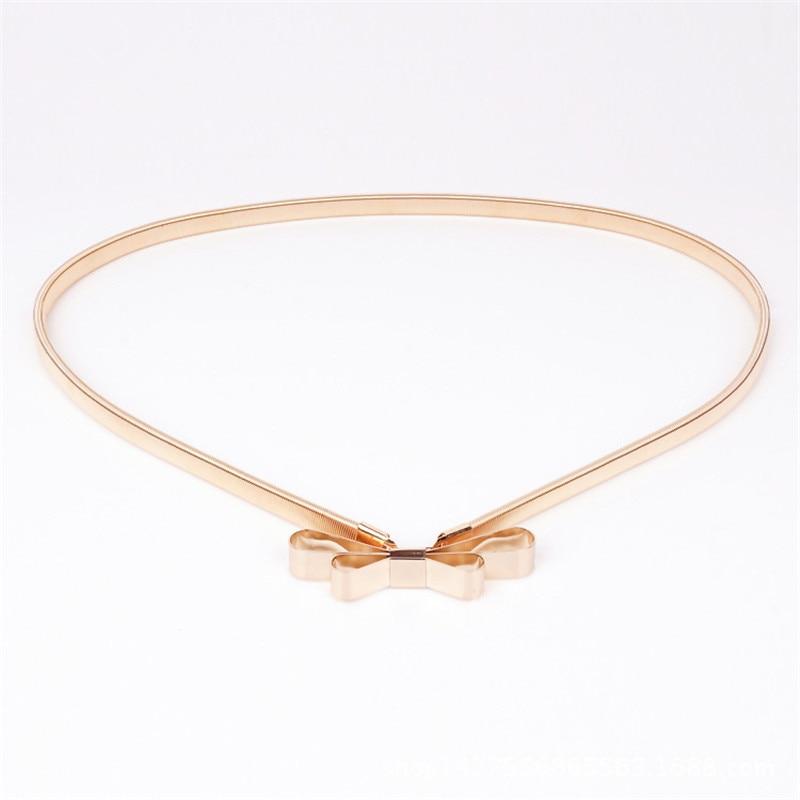 [해외]2018 새로운 핫 세일 여성 벨트 금속 활 얇은 탄성 벨트 황금색 / 은색 탄성 허리띠 체인 BL01/2018 new Hot sales women belt metal bow thin elastic belt golden /sliver elastic waistba