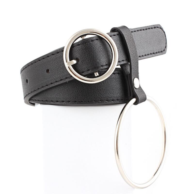 [해외]Women Waist Belt Lovely Women`s Big Ring Decorated Belts Female Hot Newest Design Fashion Gold Pin Buckle Solid PU Leather Strap/Women Waist Belt