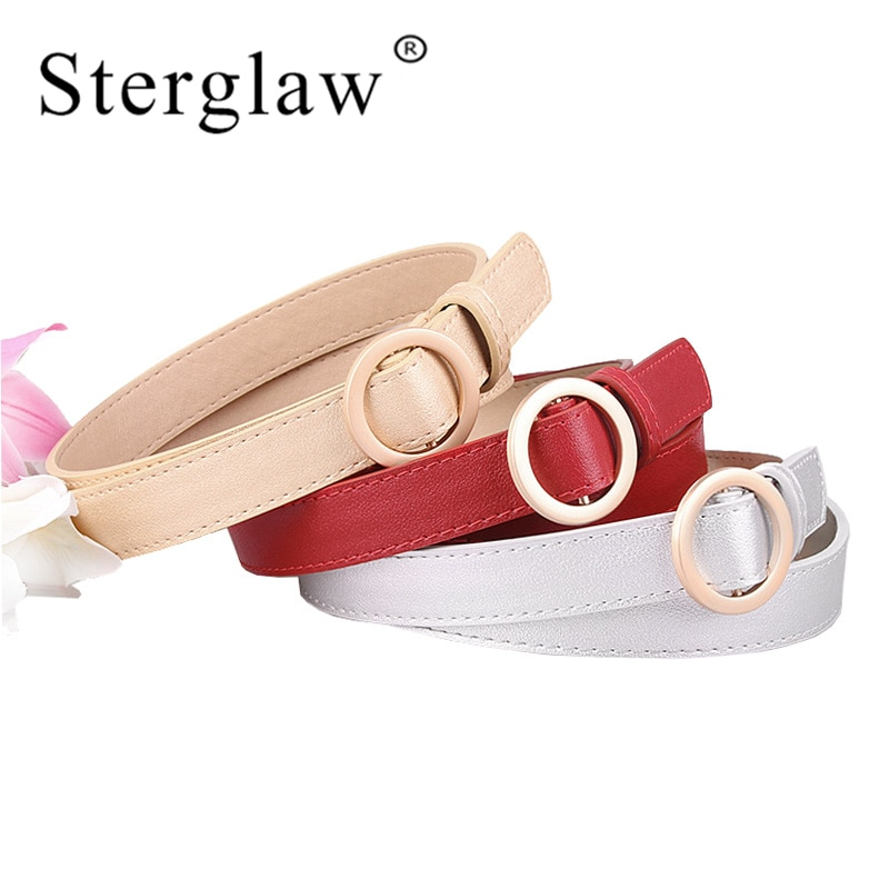 [해외]105x2.4cm New Gold Round buckle belts female leisure jean wild Modeling belts lady without buckles leather belt women strap A110/105x2.4cm New Gol