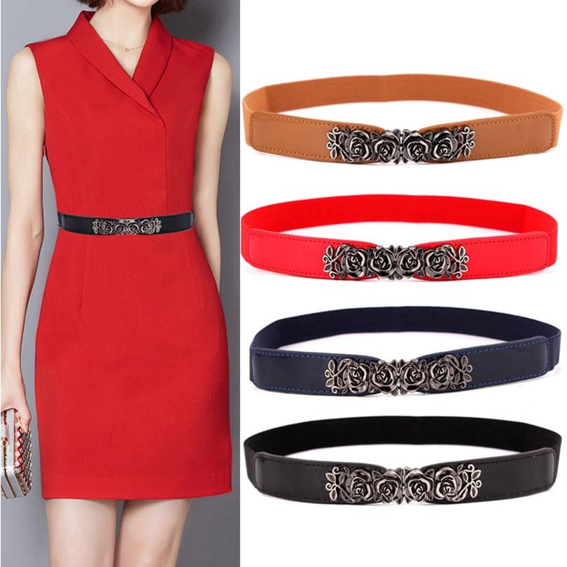 [해외]Fashion Women`s Belt Elastic Waistband Gold Circle Buckle Small Belts Red Thin Cummerbund Woman Belt Strap Brown 2019 New/Fashion Women`s Belt Ela