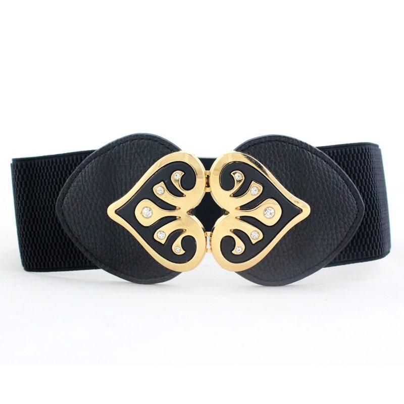 [해외]New Design Women Wide Elastic Cummerbund Belt Ladies Double Heart-shaped Rhinestone Buckle Waist Belts Fashion Girdle Waistband/New Design Women W