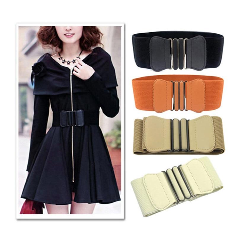 [해외]Women waist belt Cummerbund Elastic Belt Square Buckle Black Dress Decorate Waistband Women Wide PU Leather Elastic Waistband/Women waist belt Cum