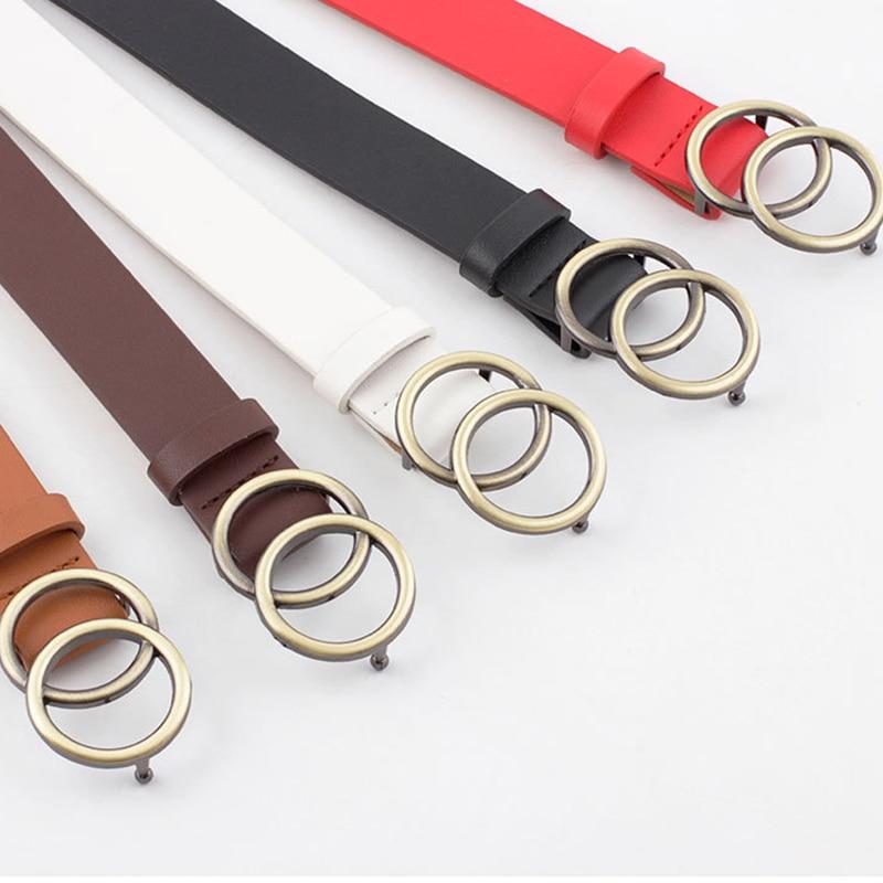 [해외]Womens Jeans Gold Buckle Waist Belt Faux Leather Strap Double Rings Design Belt Women Belts Fashion For Cummerbund Waistband/Womens Jean
