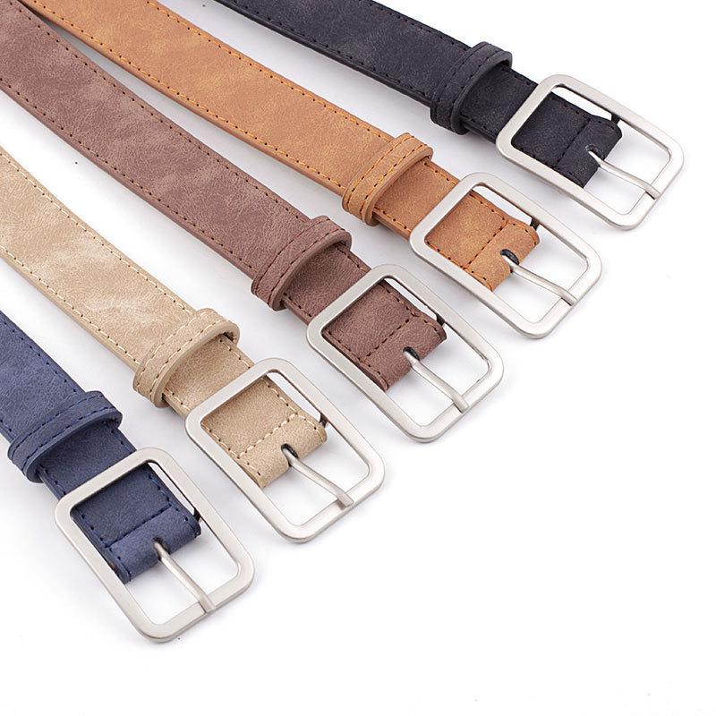 [해외]2019 New Designer Multicolor Wide Suede Leather Belt Female Vintage Silver Square Buckle Waist Belts For Women Jean/2019 New Designer Mu
