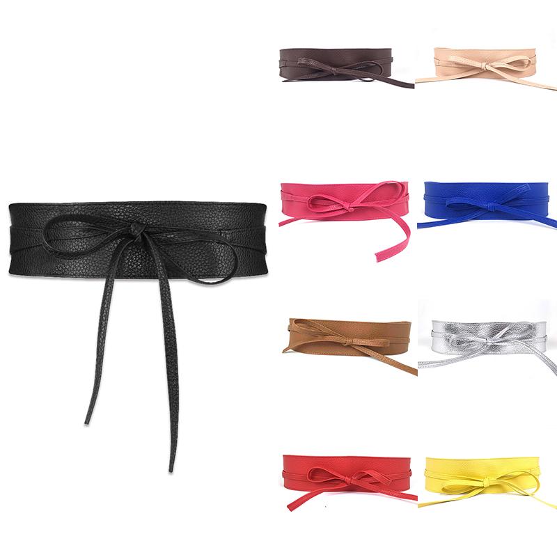 [해외]1PC Elegant Women Fashion Soft Faux Leather Wide Belt Self Tie Wrap Around Waist Band Lace Dress  Belt/1PC Elegant Women Fashion Soft Fa