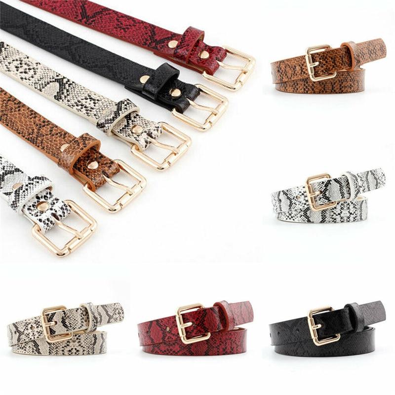 [해외]Faux Leather Belt Pin Buckle Vintage Snakeskin Print Casual Women Belt Adjustable Belts Waistband cinturon mujer cinto feminino/Faux Lea