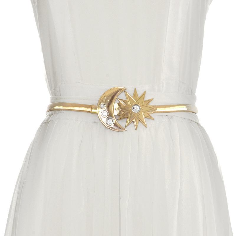 [해외]2019 New Designer Gold Elastic Stretch Waist Chain Belt Female Thin Skinny Rhinestone Sun Moon Buckle Belts for Women Dresses/2019 New D