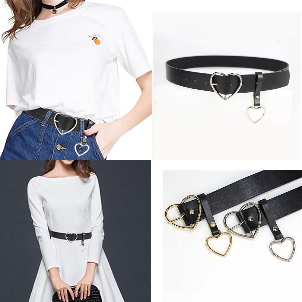 [해외]KLV New Women belt Fashion PU Leather Metal Heart Pin Buckle belt Party Dress Decor Female Waistband Women belt size 105 cm/KLV New Wome