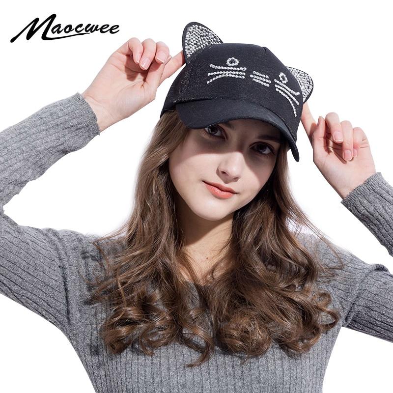 [해외]New Style Meow Women`s Spring Summer Fall Pink hat Cat Ears Cat Baseball CapRings and Lace Diamond Cute Girl Hats/New Style Meow Women`s Spring Su