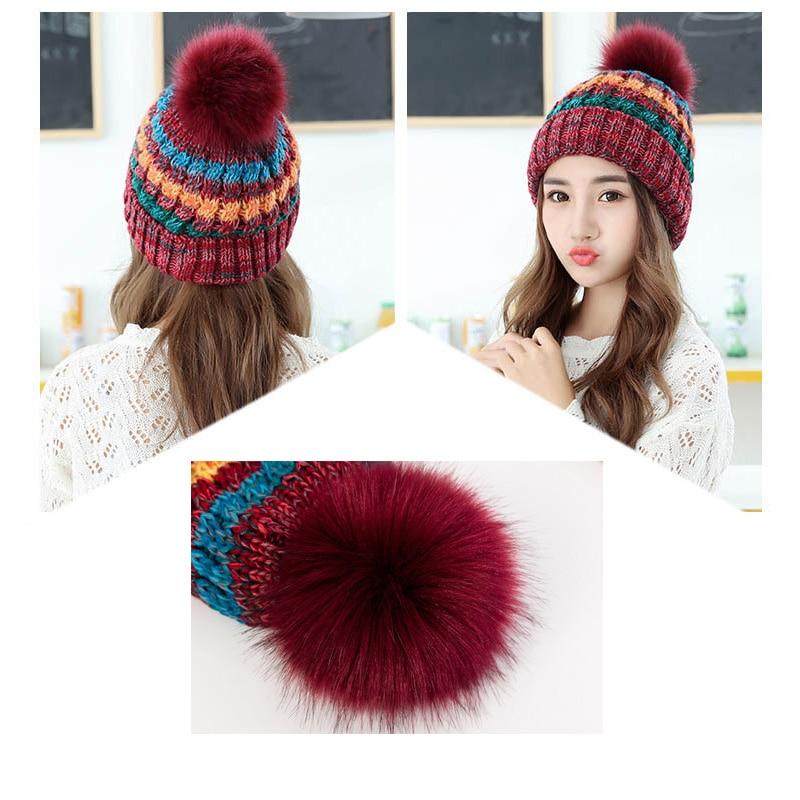 [해외]1pcs 패션 겨울 모자 여성 Pompon 모자 믹스 색상 니트 모자 여성 Skullies 숙녀 모자 여성용 모자 여성 따뜻한 모자/1pcs Fashion Winter Hats for Women Pompon Hat Mix Color Knitted Hat Fema