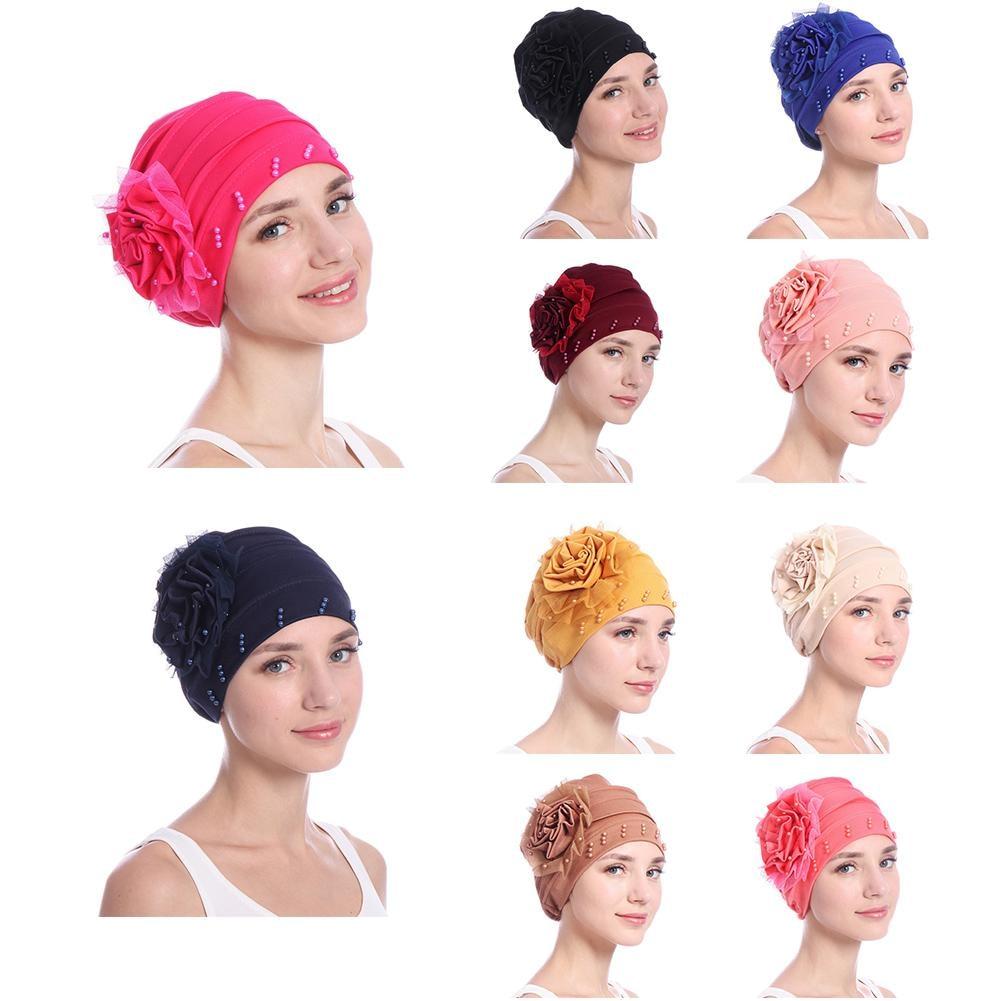 [해외]새로운 여성 유행 Headscarf 진주 우아한 Turban 뚜껑 암 환자 화학 요법 모자 비니 모자 장식 머리 장식/New Women`s Fashionable Headscarf Pearl Elegant Turban Cap Cancer Patient Chemot