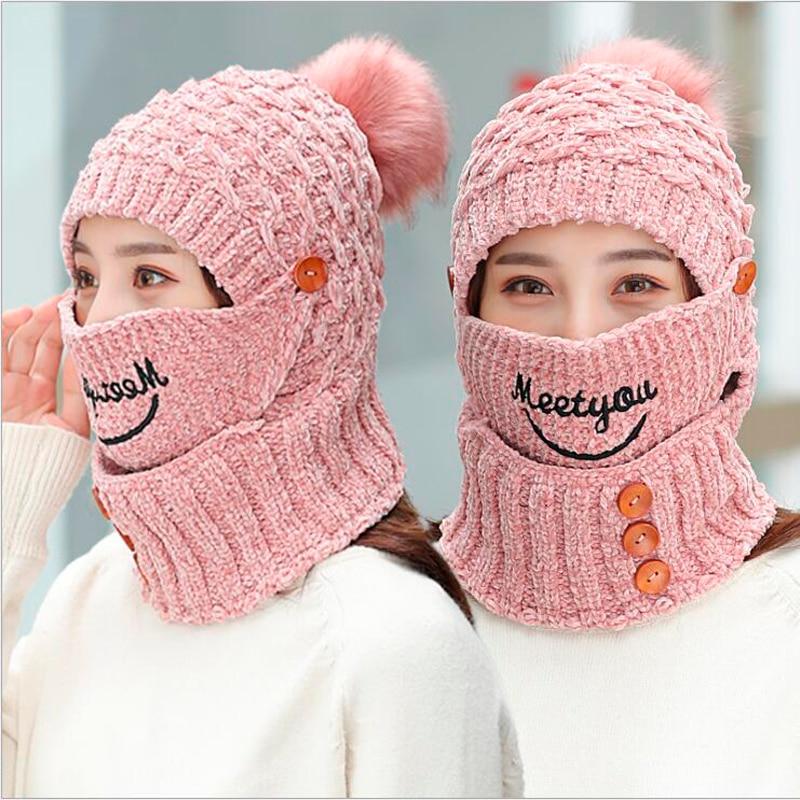 [해외]소녀 따뜻한 뜨개질 Hatskarf 겨울 니트 모자 스카프 여성을두꺼운 짧은 봉제 라이닝 고라 보닛 마스크 스키 모자/Girl Warm Knitted HatScarf Winter Knitted Hat Scarf for Women Thickened Short Pl