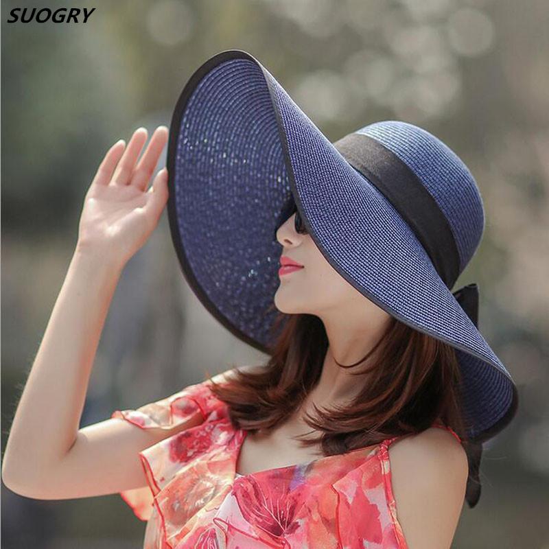 [해외]설탕 여름 솔리드 태양 모자 여성용 큰 넓은 가장자리 파나마 비치 모자 여성 양동이 모자 여성용 나비 넥타이 Chapeu Feminino/SUOGRY Summer Solid Sun Hats For Women Big Wide Brim Panama Beach Hat