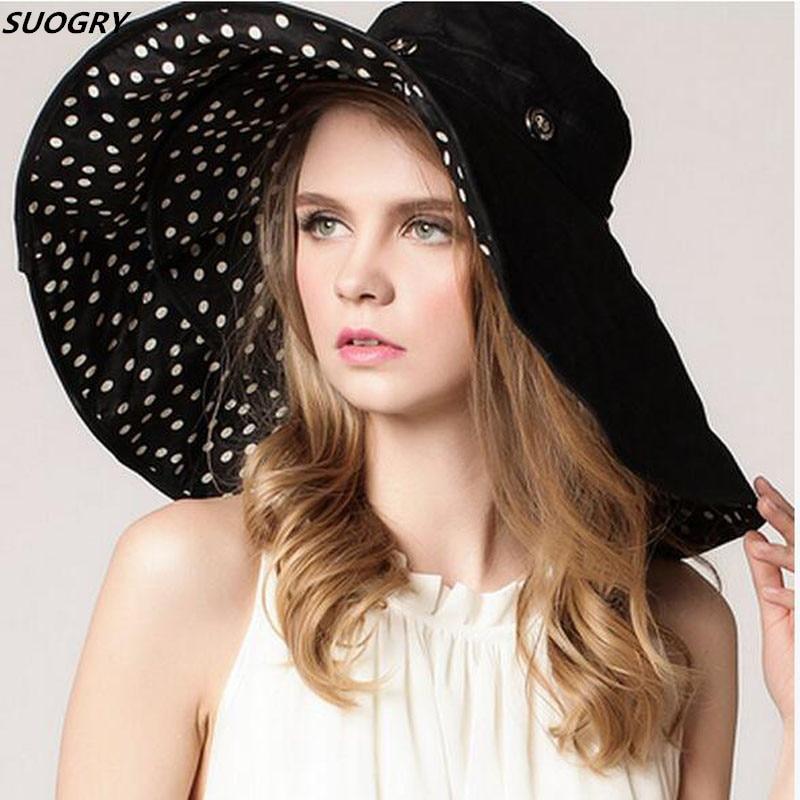 [해외]최고 품질 레이디 썬 햇 여름 썬 모자 여자는 넓은 둥근 도트 인쇄 모자 큰 챙 모자 접혀/Top Quality Lady Sun Hat Summer Sun Cap Women Folded Wide Brim Dot Printing Cap Large Brim Hat