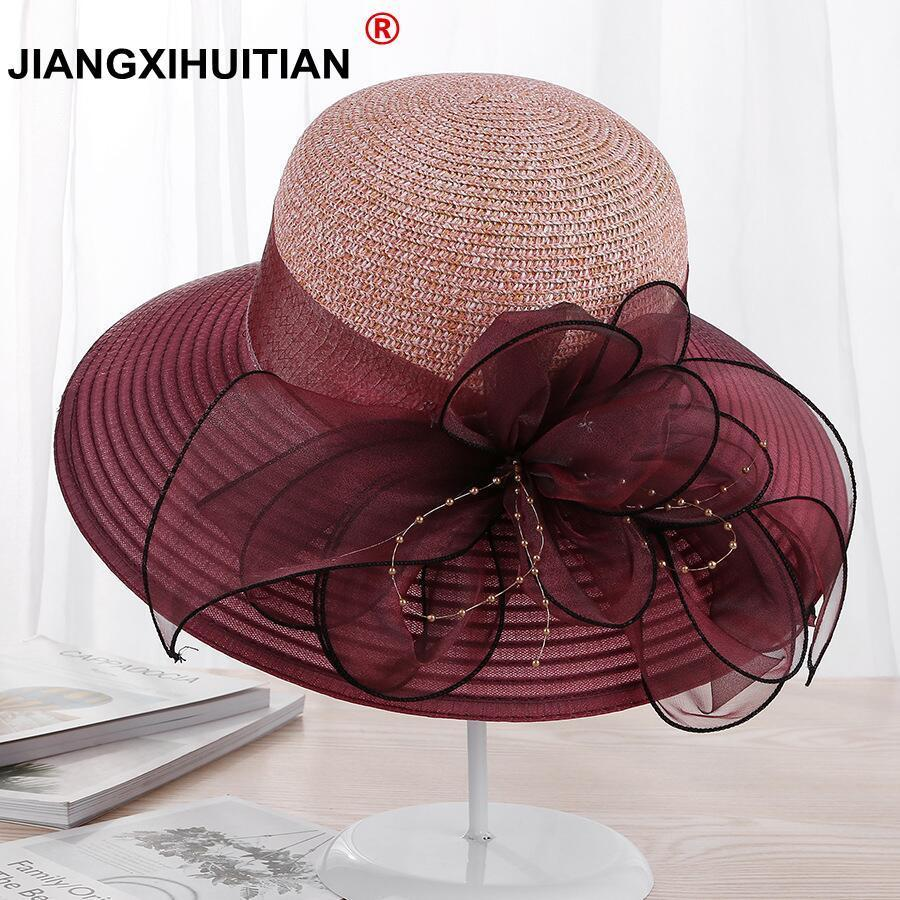 [해외]2018 새로운 대형 와이드 브림 모자 Organza 꽃 일요일 모자 숙녀 켄터키 더비 결혼식 파티 드레스 플로피 여름 모자 여성을위한/2018 new Large Wide Brim Hats Organza Flower Sun Hats Ladies Kentucky