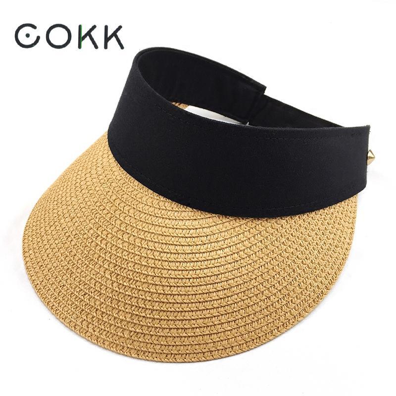 [해외]COKK 여름 모자 접이식 썬 바이저 텅 빈 탑 실외 바다 비치 모자 Chapeu Feminino Sun Hat 여성 넓은 챙 모자 New/COKK Summer Hats For Women Folding Sun Visor Empty Top Outdoor Sea B