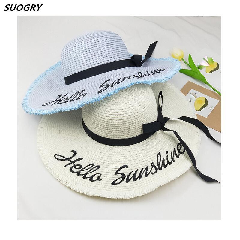 [해외]2018 맞춤형 자수선 Hello Sunshine 드리 워진 해변 모자 여름용 밀짚 모자 여성용 허니문 항해 용 플로피 모자/2018 Personalized Letter Embroidery Hello Sunshine Fringed beach hat summer