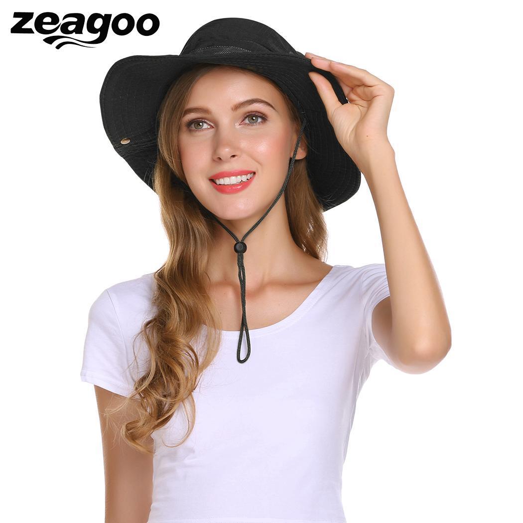 [해외]Zeagoo 봄 패션 여름 여성 내부 Drawstring 위장 라운드 넓은 썬 모자/Zeagoo Spring Fashion Summer Women Internal Drawstring Camouflage Round Wide Sun Hats
