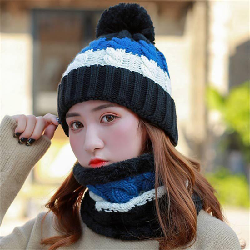 [해외]여성 모자 겨울 두꺼운 니트 모자 스트 라이프 Pompom 니트 볼 따뜻한 모자 숙녀 양모 모자/Women Hat Winter Thick Knit Hat Striped Pompom Knit Ball Warm Hat Ladies Wool Cap