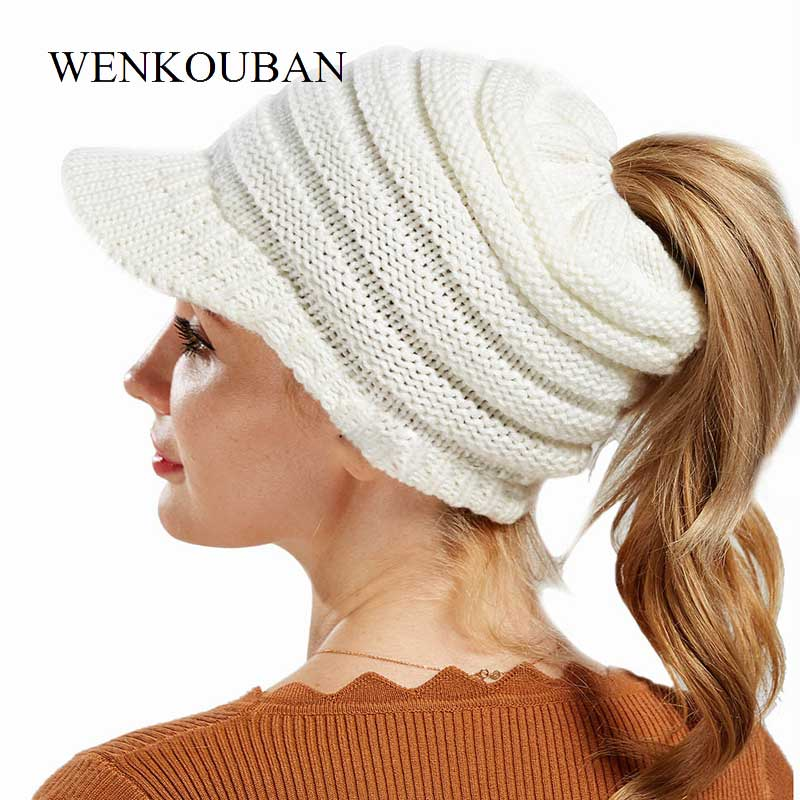 [해외]여성을패션 겨울 모자 포니 테일 비니 폴리 에스테르 캐주얼 니트 모자 따뜻한 겨울 모자 스키 비니 모자 여성 소프트 스컬리/Fashion Winter Hats For Women Ponytail Beanie Polyester Casual Knitted Hat Wa