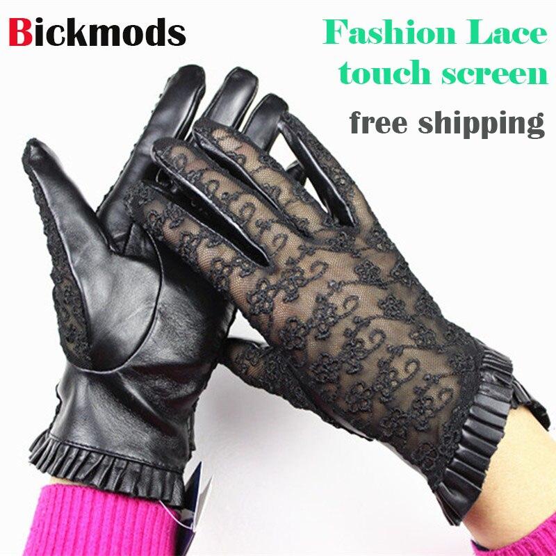 [해외]양모 장갑 레이디 터치 스크린 장갑 얇은 패션 레이스 스타일 봄, 가을 검정 갈색 회색 여성용 가죽 장갑/Sheepskin gloves lady touch screen gloves thin fashion lace style spring and autumn bla