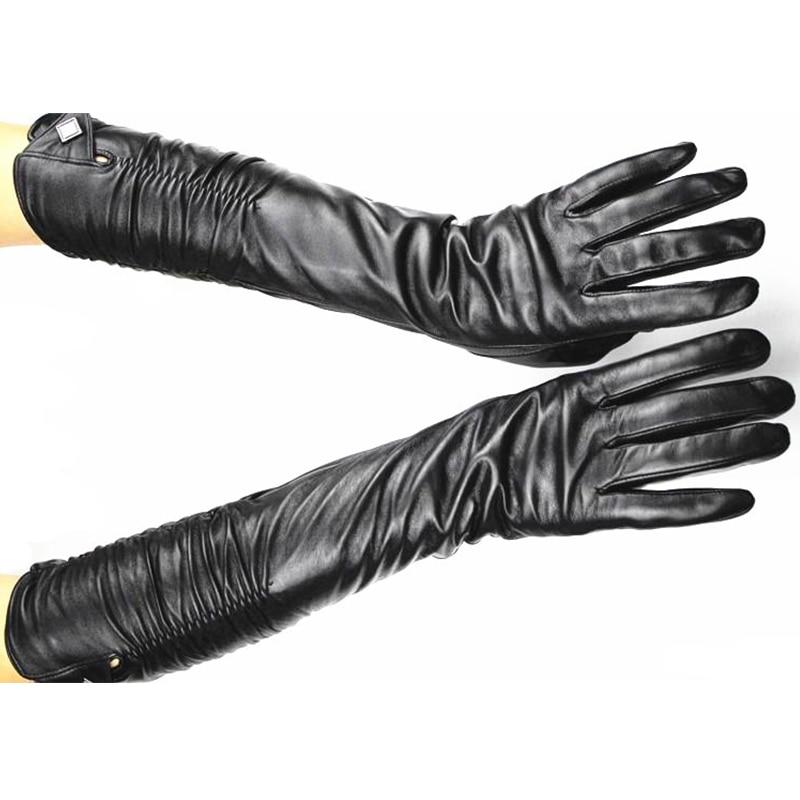 [해외]2017 여성 긴 양피 패션 장갑 여성 가죽 팔꿈치 길이 탄성 스타일 벨벳 안 감 온난 한/2017 women Long Sheepskin fashion Gloves Female Leather Over Elbow Length Elastic Style Velvet