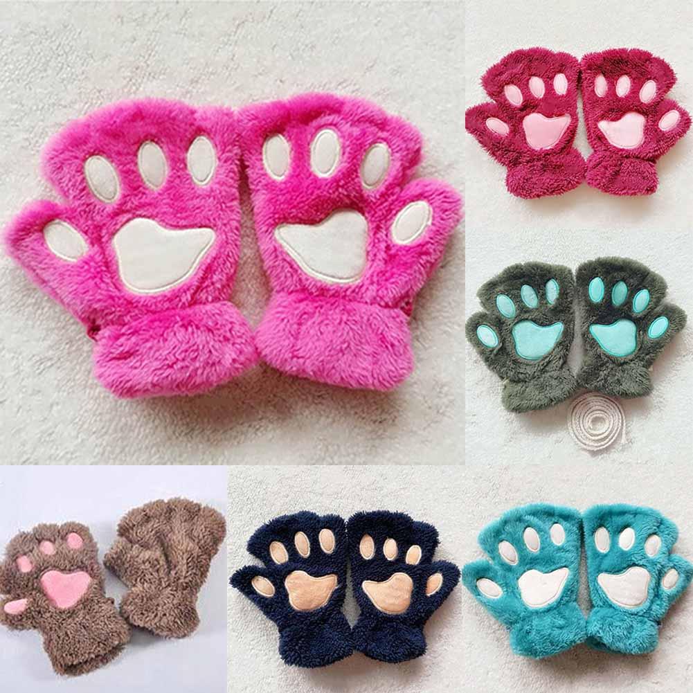 [해외]새로운 1 쌍의 겨울 여성 귀여운 고양이 발톱 인형 장갑 짧은 핑거리스 하프 핑거 장갑/New 1 Pair Winter Women Cute Cat Claw Paw Plush Mittens Short Fingerless Half Finger Gloves