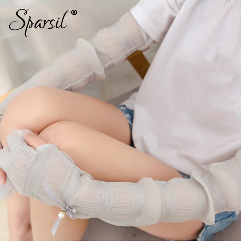 [해외]Sparsil 숙녀 레이스 장갑 롱 미닛 Bowknot Peral의 긴 섹션 운전 Thumb Hole Sunscreen 솔리드 통풍 소녀/Sparsil Ladies Lace Gloves Driving Long Section of Thin Mitten Bowkno