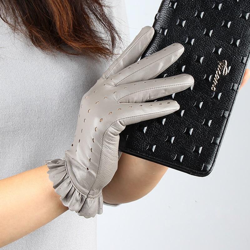 [해외]여자 가죽 장갑 패션 Ruffle 스타일 unlined  양피 장갑 여성 야외 비 슬립 운전 장갑 가을 따뜻한/Women Leather Glove Fashion Ruffle Style Unlined Genuine Sheepskin Gloves Female Out