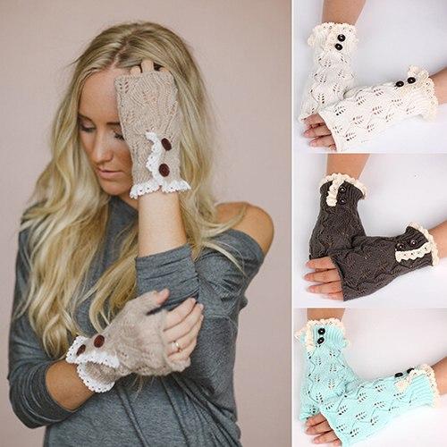 [해외]Bluelans Women Fingerless 레이스 니트 장갑 겨울 따뜻한 단추 손목 Warmer Mitten/Bluelans Women Fingerless Lace Knitted Gloves Winter Warm Button Hand Wrist Warmer