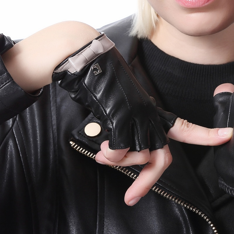 [해외]/women fashion elegant real leather cute fingerless half finger gloves