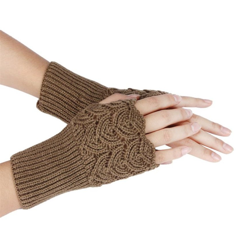 [해외]/2017   Women Wool Arm Warmers Winter Fashion Fingerless Gloves button Knitted Mitten Short Gloves guantes tactical gloves