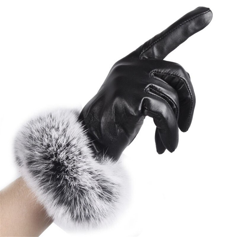 [해외]/Women Lady keep warm  Black Leather Gloves Autumn Winter Warm Rabbit Fur Mittens Gants en cuir pour femmes Y50