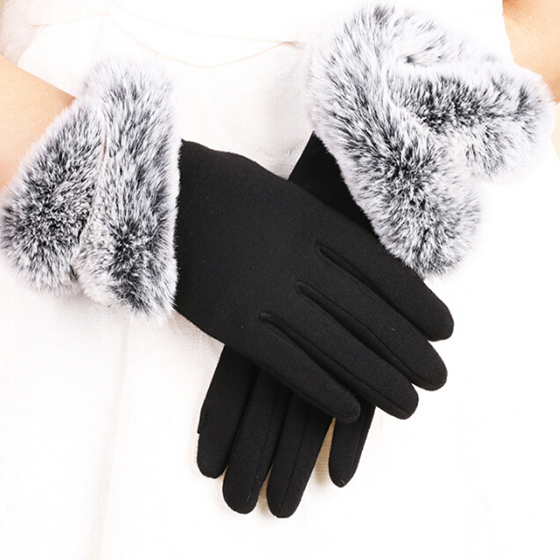 [해외]Fashion Women Touching Screen Gloves Winter Warm Lady Gloves Driving Soft Fake Fur Lining Gloves Mittens Cashmere/Fashion Women Touching Screen Gl
