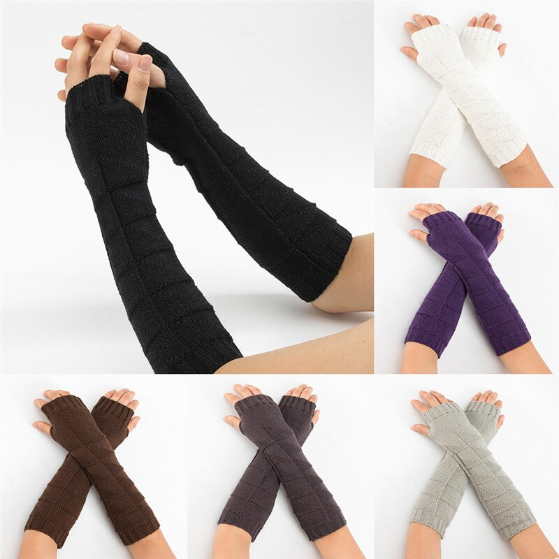 [해외]Women Winter Wrist Arm Warmer Solid Knitted Long Fingerless Gloves Mitten Hand Gloves guantes eldiven handschoenen 40FE14/Women Winter Wrist Arm W