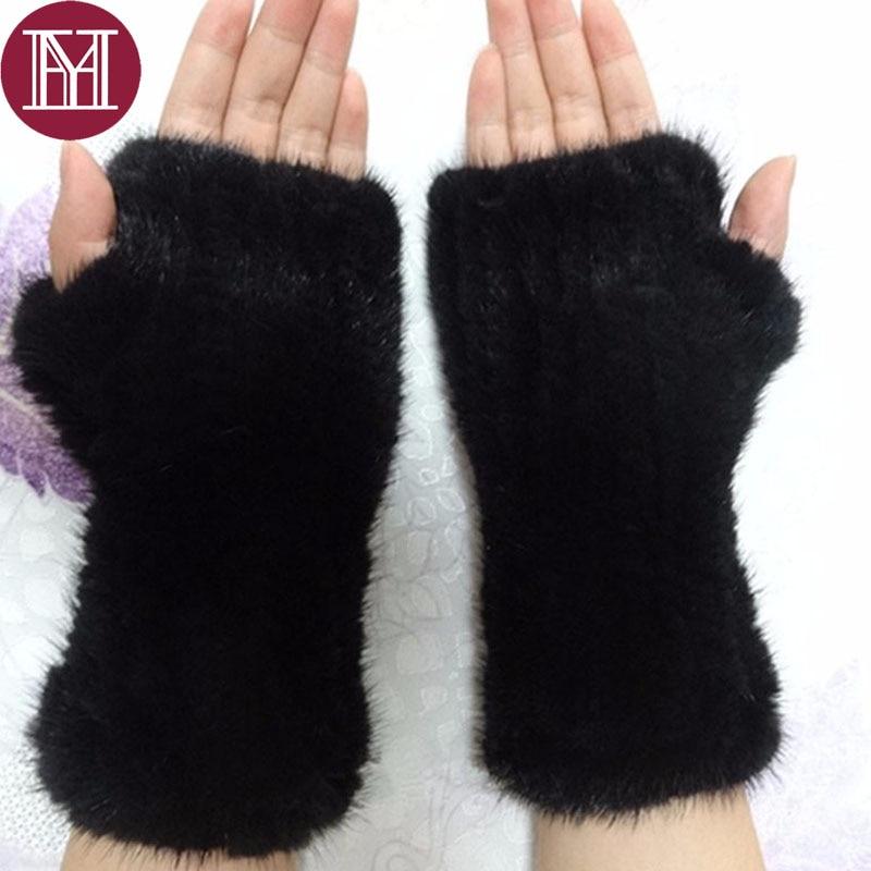 [해외]Women real mink fur glove lady knitted genuine mink fur mittens 2019 brand high quality fur gloves /Women real mink fur glove lady knitted genuine