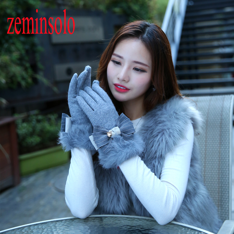 [해외]Fashion Bow Solid Women Wool Cashmere Winter Gloves For Touch Screens Rabbit Fur Mittens Elegant Long Genuine Leather Gloves/Fashion Bow Solid Wom