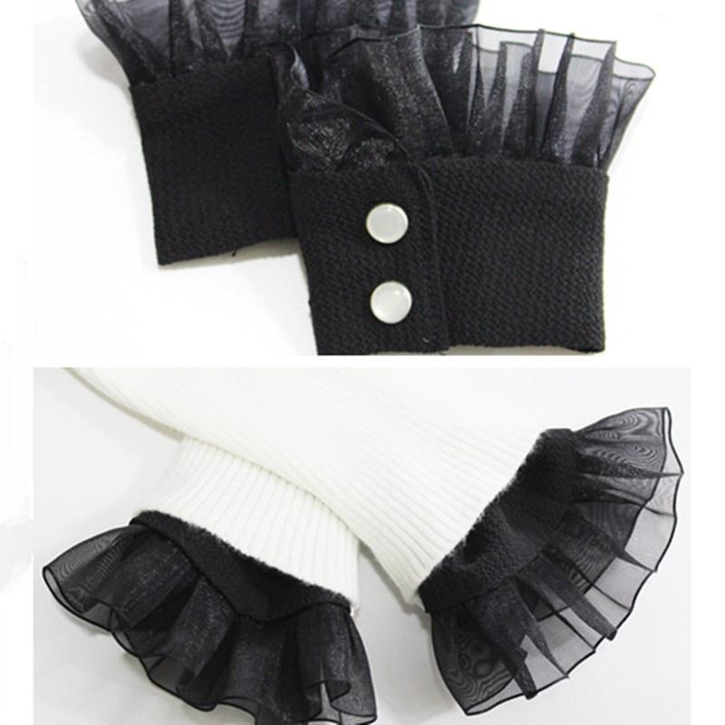 [해외]1Pair Chiffon Lace Ruffled Detachable Fake Cuffs Wrist Band Decorative Triming Fabric Sweater Sewing DIY BBB0583/1Pair Chiffon Lace Ruffled Detach