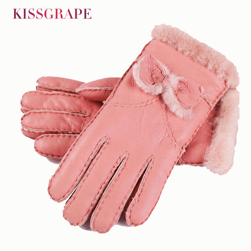[해외]Brand Women Gloves Australia Sheepskin Fur Winter Women`s Warm Genuine Leather Gloves Bowtie Ladies Mittens Outside Gloves/Brand Women Gloves Aust