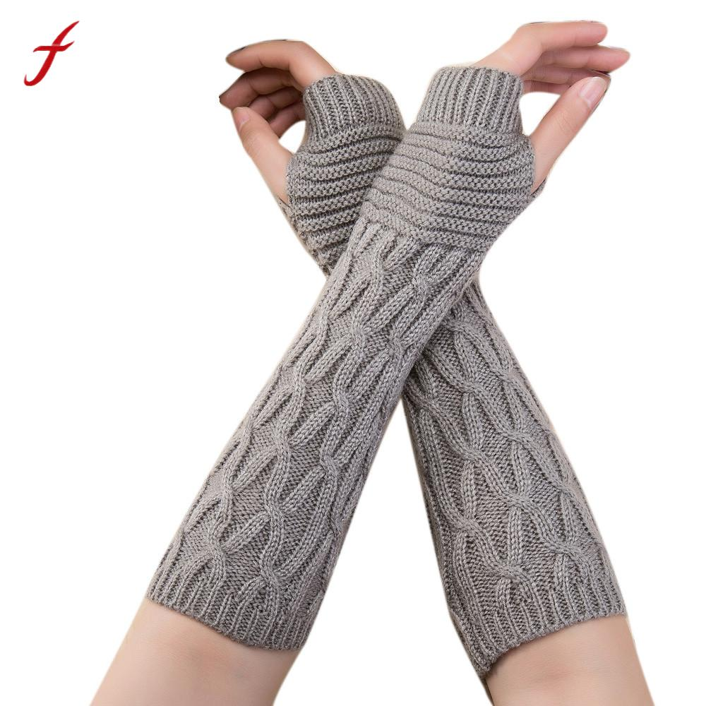 [해외]2017 Autumn Winter Women Gloves Fashion Wrist Arm Warmer knitting Wool Long Fingerless Gloves Mitten Warm Female Guantes/2017 Autumn Winter Women