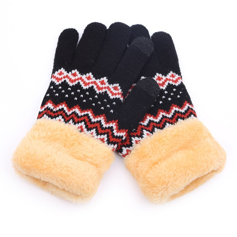 [해외]Winter Women Warm Jacquard Stretch Knit Gloves Female Plus Plush Magic Accessories Wool Full Finger Gloves Thicken Mittens B45/Winter Women Warm J