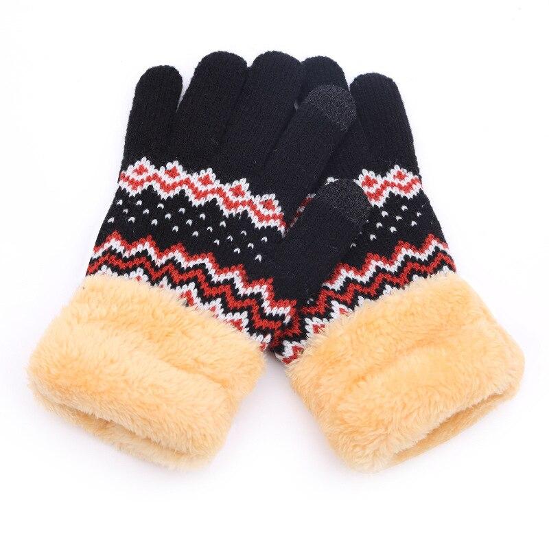 [해외]Winter Women Warm Jacquard Stretch Knit Gloves Female Plus Plush Magic Accessories Wool Full Finger Gloves Thicken Mittens B45/Winter Women Warm J