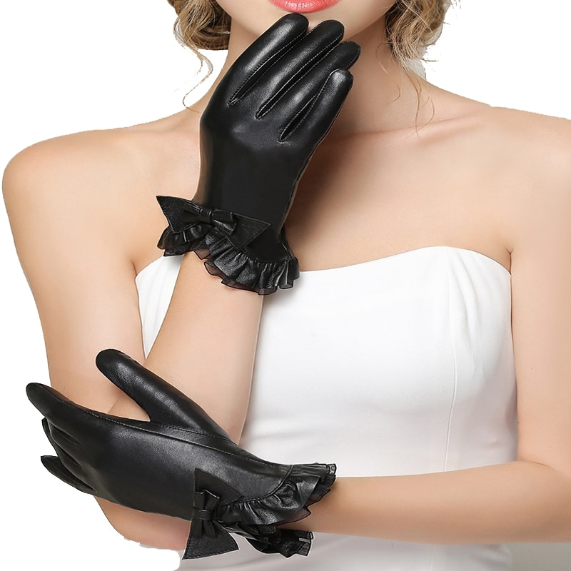 [해외]2019 new arrival  Women Leather Gloves Wrist Genuine Leather toucu screen Gloves Sheepskin Gloves Fashion Leather Gloves/2019 new arrival  Women L