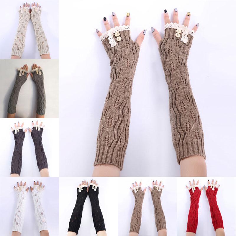 [해외]Hot 1pair Fashion Ladies Winter Arm Warmer Fingerless Gloves Lace Button Knitted Long Warm Gloves Mittens For Women  SMA66/Hot 1pair Fas